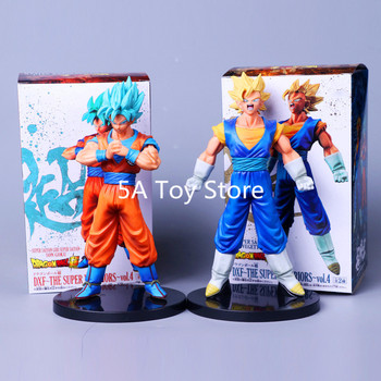 Dragon Ball Z SÜPER Süper Warriors vol.4 Süper Saiyan DXF TANRı SS Goku + vegetto mavi PVC Action Figure Koleksiyon Model Oyuncak