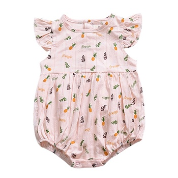 Newborn Baby Girl Cute Flying Sleeve Summer Romper Dress Floral Pattern Jumpsuit Clothes